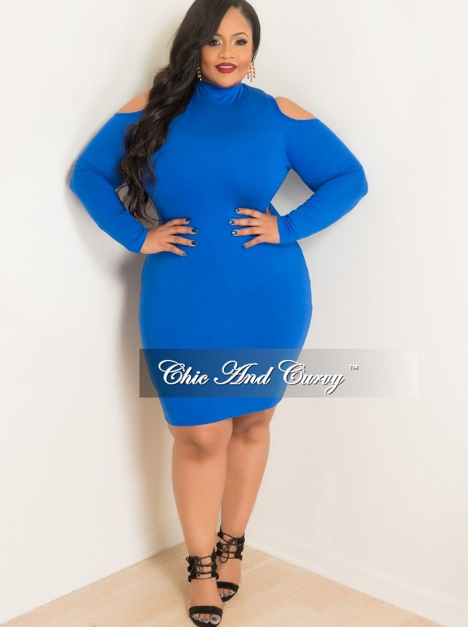 35% Off Sale - Final Sale Plus Size BodyCon with Cold Shoulder and Long Sleeves in Royal Blue
