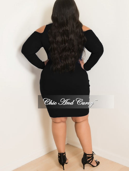 Final Sale Plus Size BodyCon with Cold Shoulder and Long Sleeves in Black