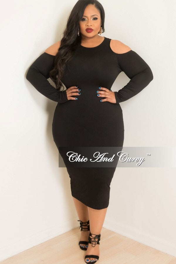 New Plus Size Long Sleeve Cold Shoulder BodyCon Dress in Black