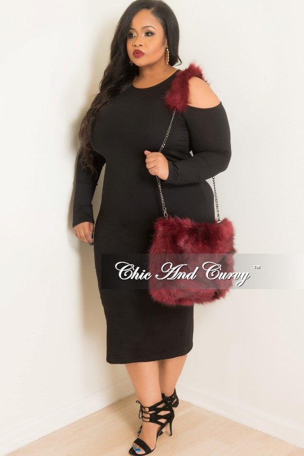 Final Sale Faux Fur Purse with Chain Strap and Fur Shoulder Pad in Burgundy
