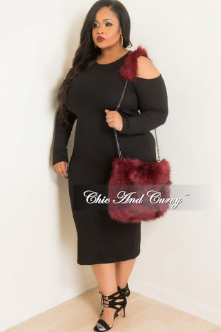 Final Sale Faux Fur Purse in Burgundy/Black