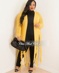Final Sale Plus Size Long Sleeve Duster with Distressed Bottom in Mustard