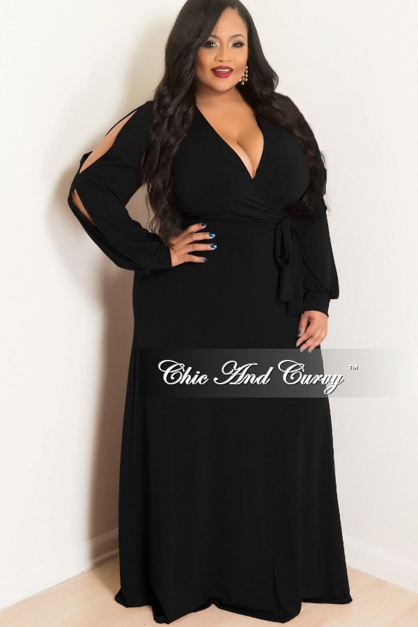 1431d81899 Final Sale Plus Size Faux Wrap Dress with Slit Sleeves in Black – Chic And  Curvy