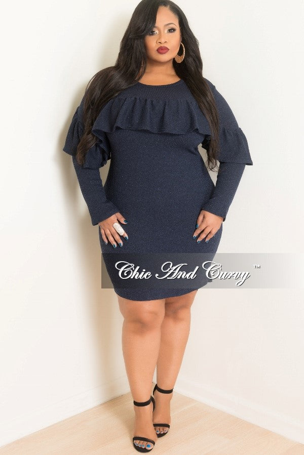 Final Sale Plus Size Long Sleeve Ruffle BodyCon Knit Sweater Dress in Navy