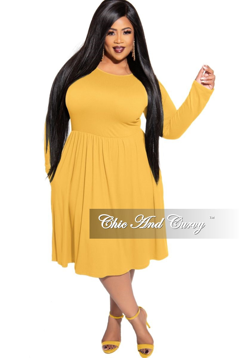 New Plus Size Dress with Pockets in Mustard