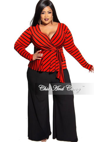 Final Sale Plus Size High Waist Ruffle Bell Bottom Pants in Red