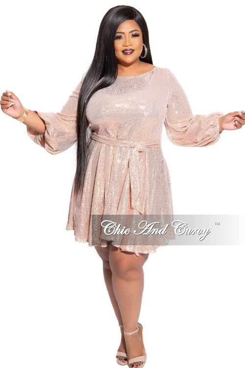 Final Sale Plus Size Long Sleeve Faux Sequin Hologram Mini Flare Dress with Tie in Rose Gold