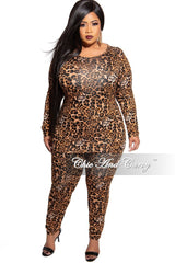 New Plus Size 2-Piece Top and Legging Set in Animal Print