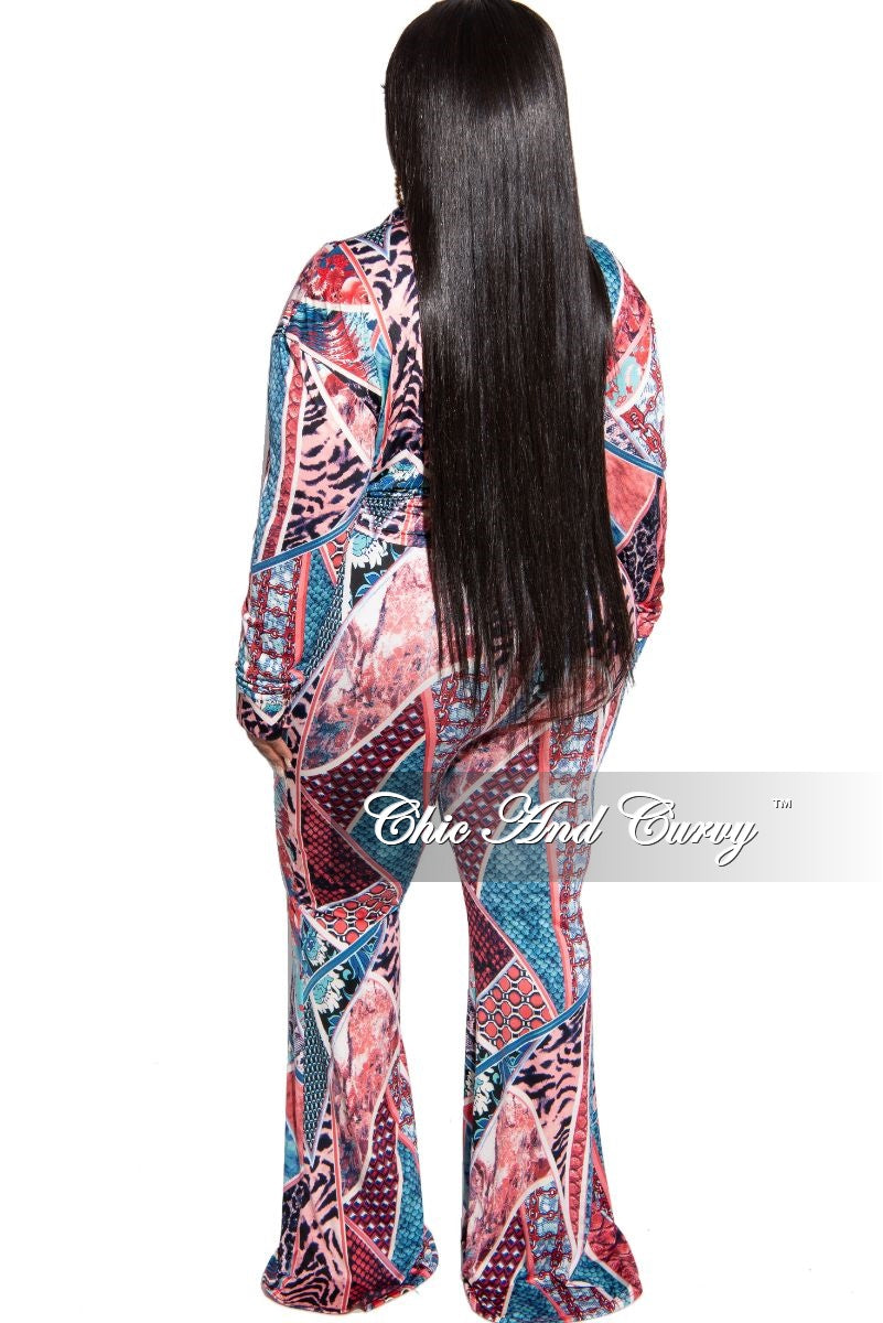 New Plus Size 2-Piece Top and Palazzo Pant Set in Multi Color Print