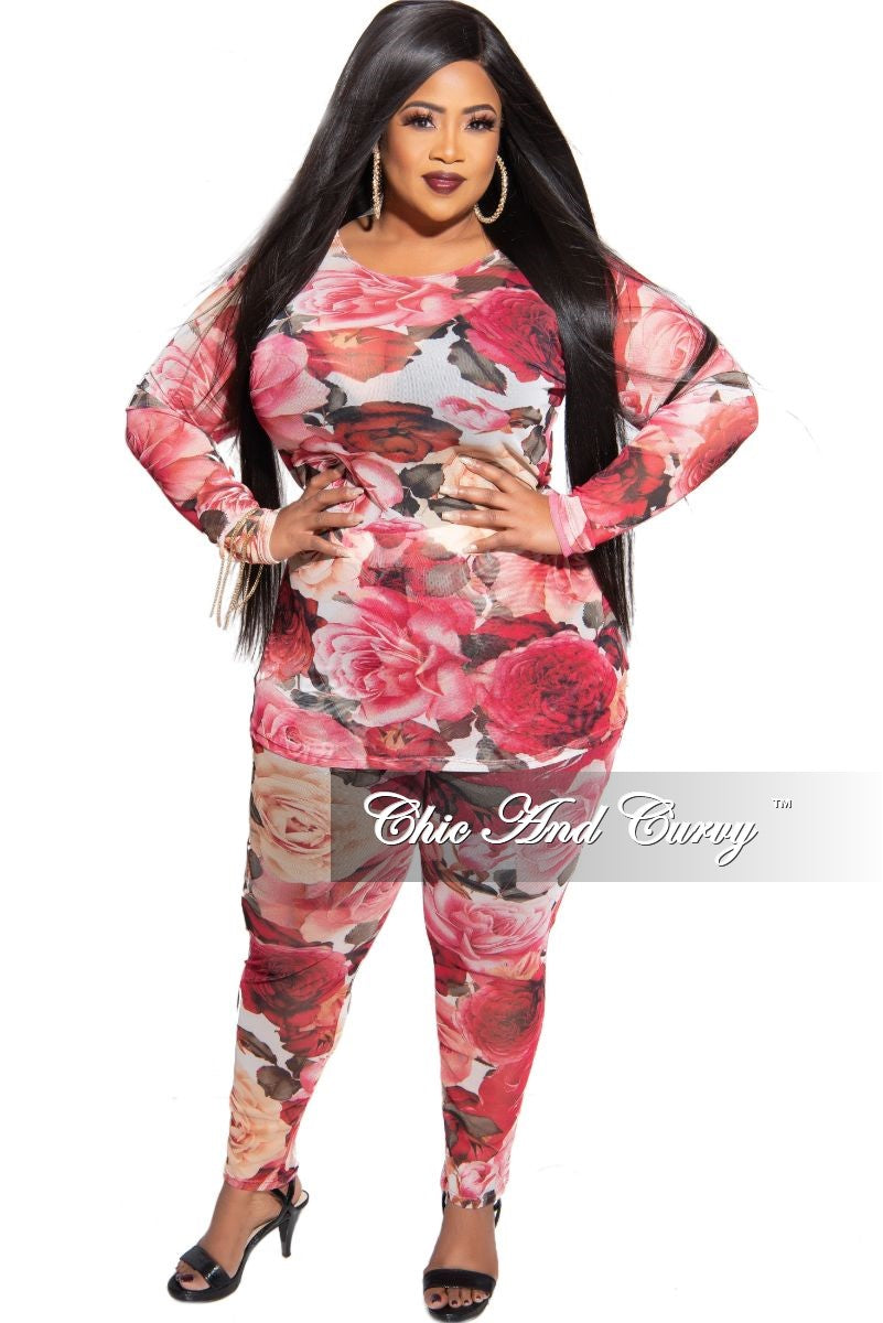 Final Sale Plus Size 2-Piece Top and Legging Set in Flower Print