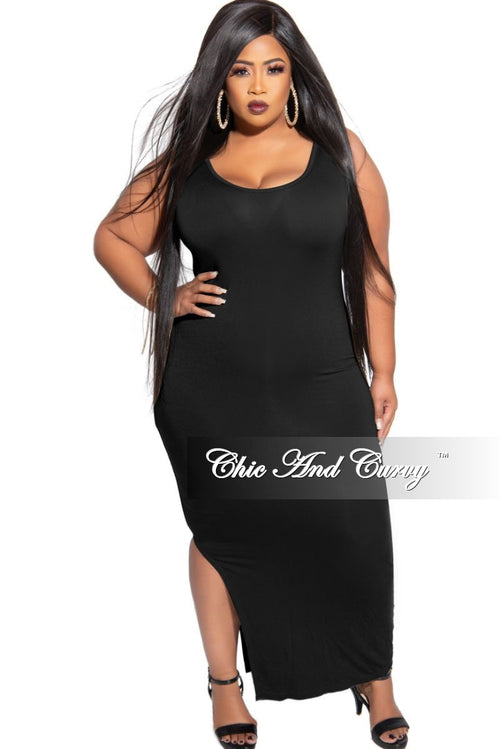 New Plus Size 2-Piece Crop Top and Dress Set in Black