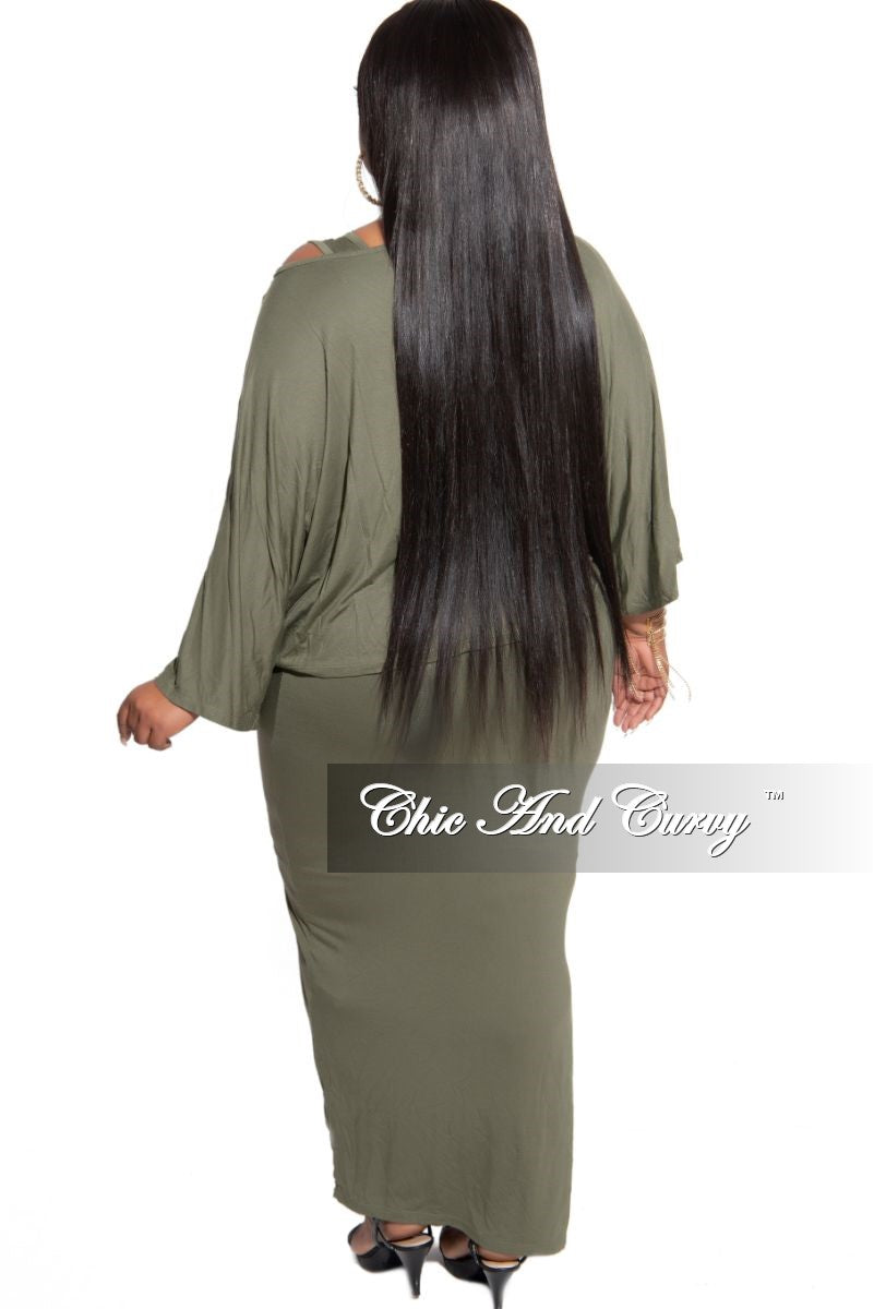New Plus Size 2-Piece Crop Top and Dress Set in Olive Green