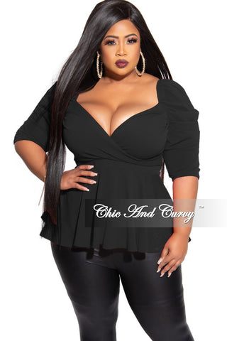 Final Sale Plus Size Chiffon Neck Tie Blouse in Black