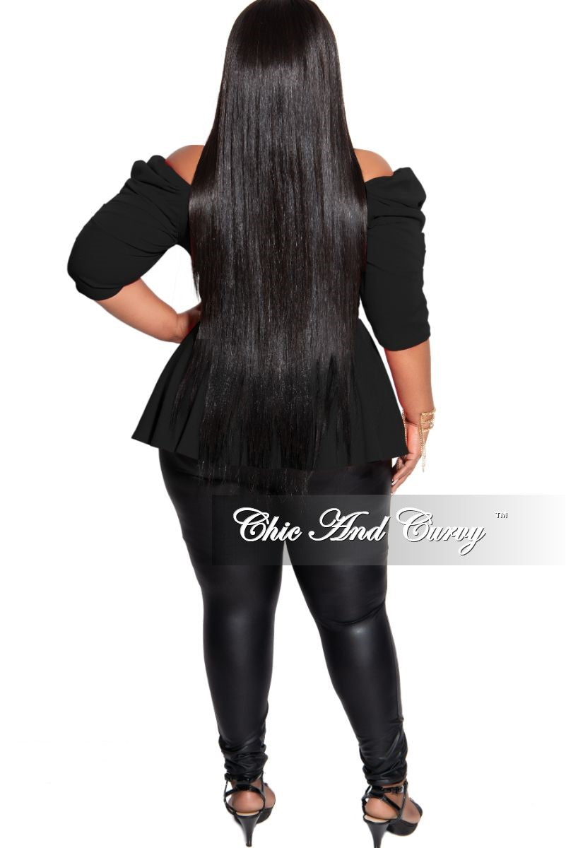 New Plus Size Faux Wrap Ruched Sleeve Peplum Top in Black