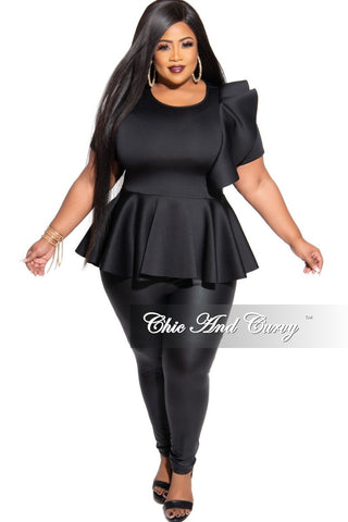 Final Sale Plus Size 2-Piece Button Up Collar Top and Pants Set in White and Black News Print Design