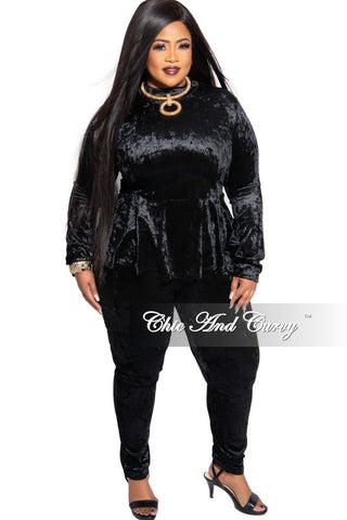 New Plus Size Mock Neck Romper in Black