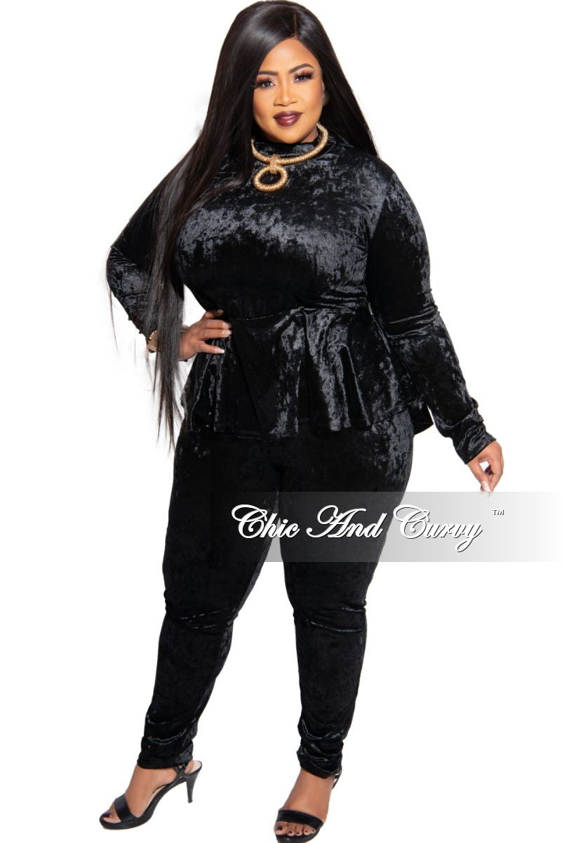 Final Sale Plus Size Exclusive Crushed Velour Mock Neck Peplum Tie Top and Pants Set in Black