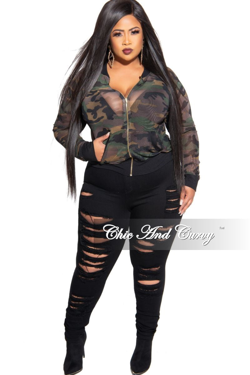 Final Sale Plus Size Long Sleeve Zip-Up Mesh Bomber Jacket in Camouflage Print