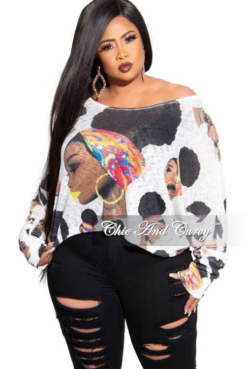 Final Sale Plus Size Long Sleeve Afrocentric Top in White Multi Color