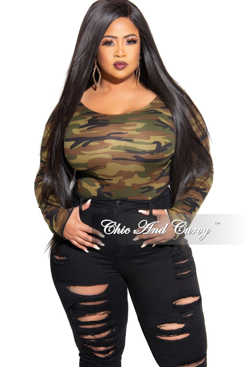 Final Sale Plus Size Long Sleeve Bodysuit in Olive and Brown Camouflage Print (Dark)