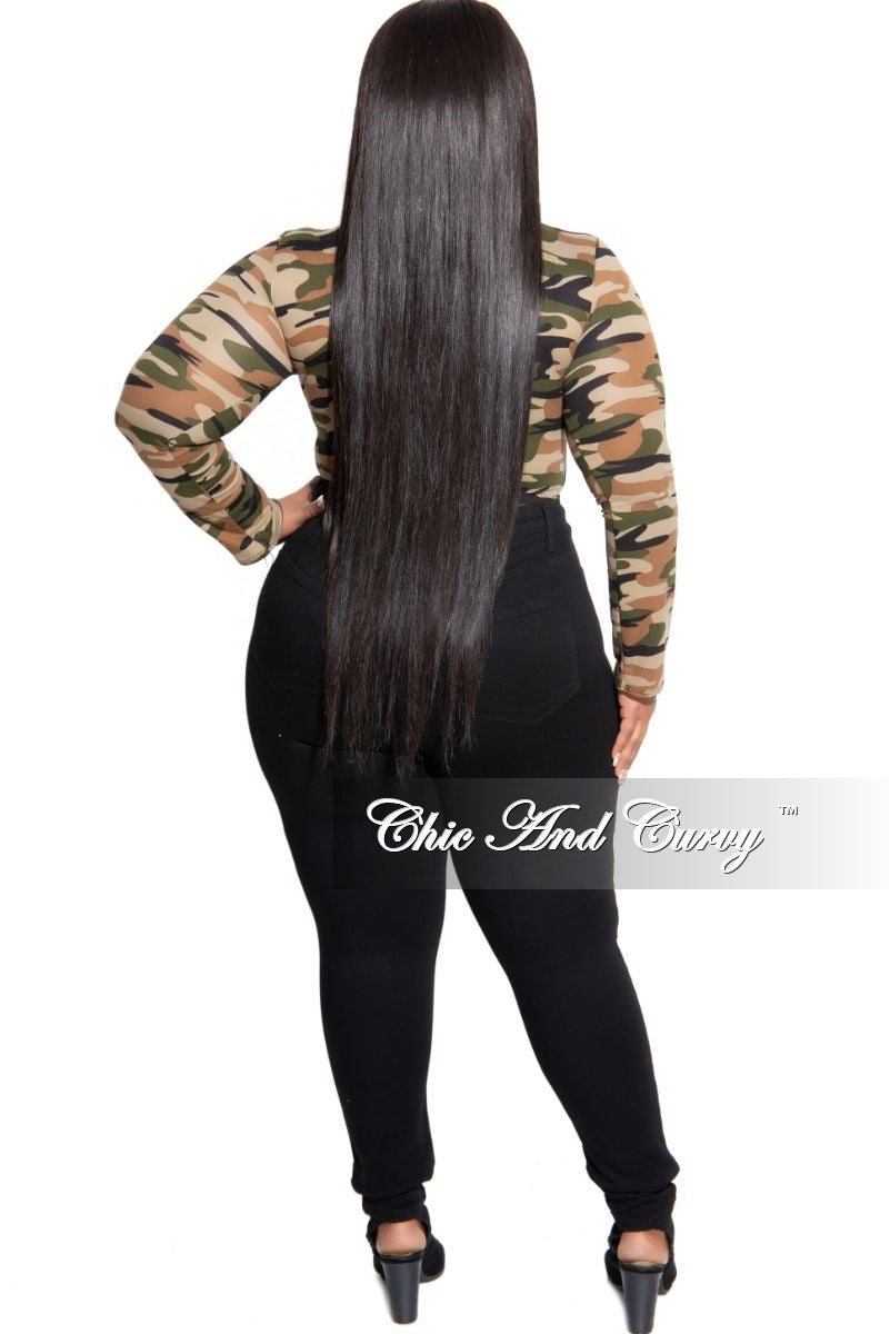 Final Sale Plus Size Long Sleeve Bodysuit in Olive and Sand Camouflage Print (Light)