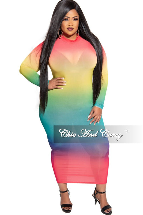 Final Sale Plus Size Sheer Mock Neck BodyCon Dress in Multi Color Tie Dye Print