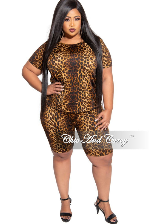 Final Sale Plus Size 2-Piece T-Shirt and Bermuda Short Set in Animal Print