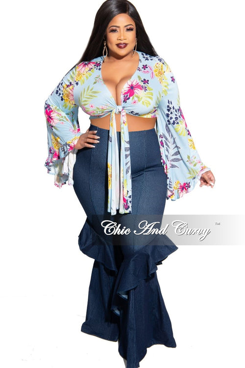 New Plus Size Crop Tie Top with Bell Sleeves in Blue Floral Print
