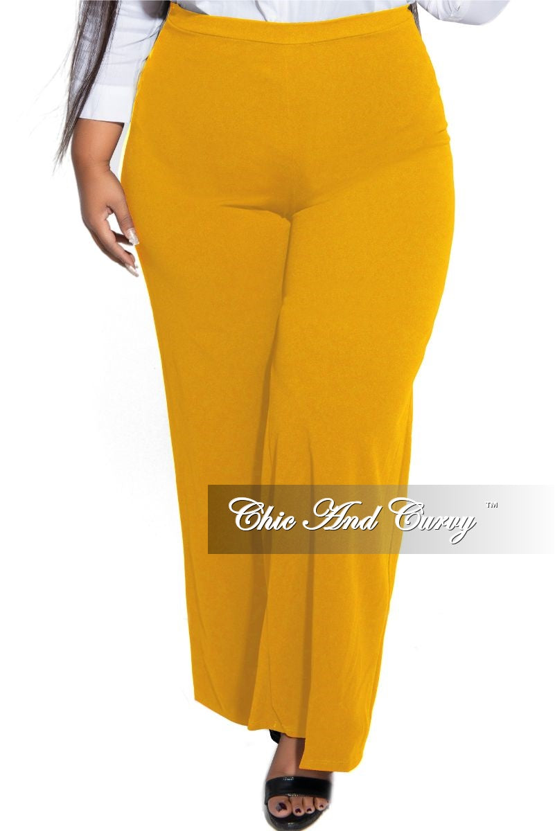 Final Sale Plus Size Pants with High-Waist and Wide Legs in Mustard