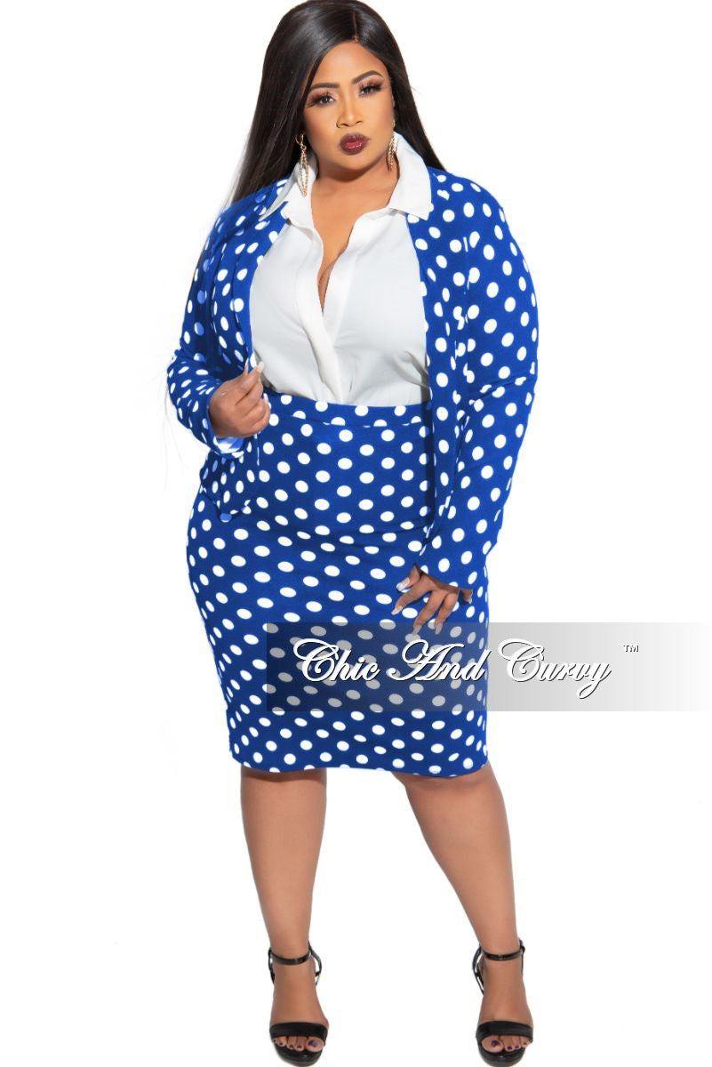 New Plus Size 2-Piece Blazer and Pencil Skirt Set in Royal with White Polka Dots