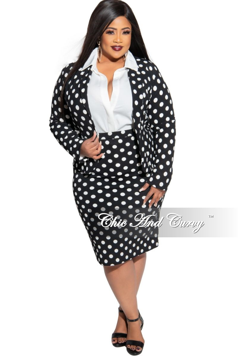 New Plus Size 2-Piece Blazer and Pencil Skirt Set in Black with White Polka Dots