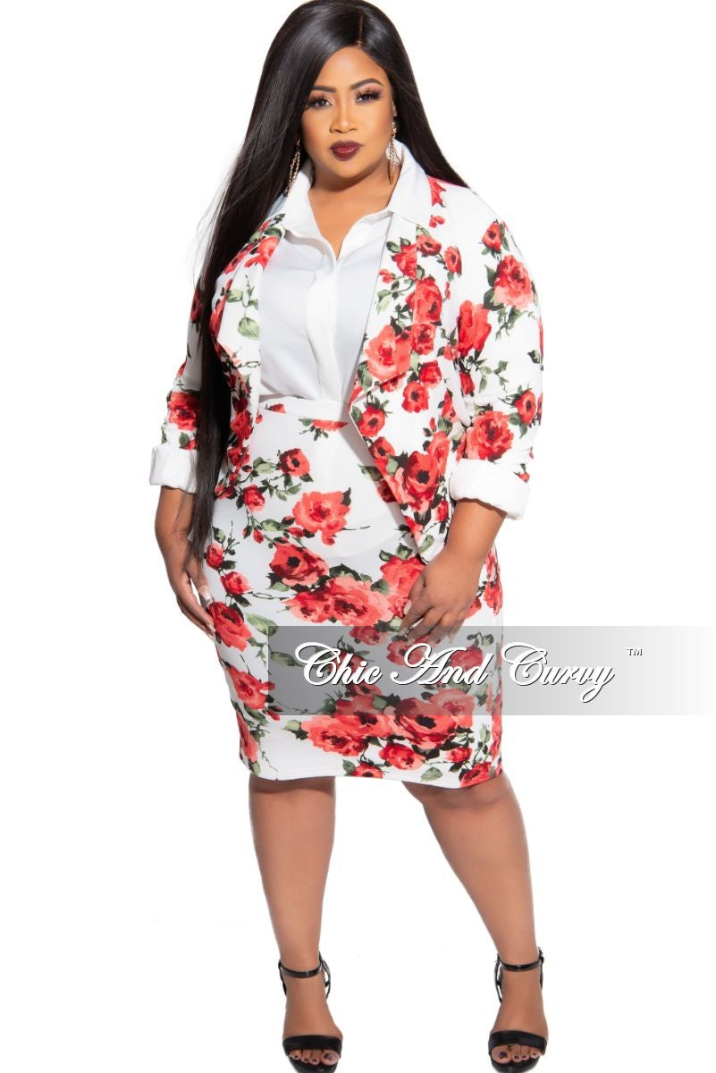New Size 2-Piece Blazer and Pencil Skirt Set in White Floral Print