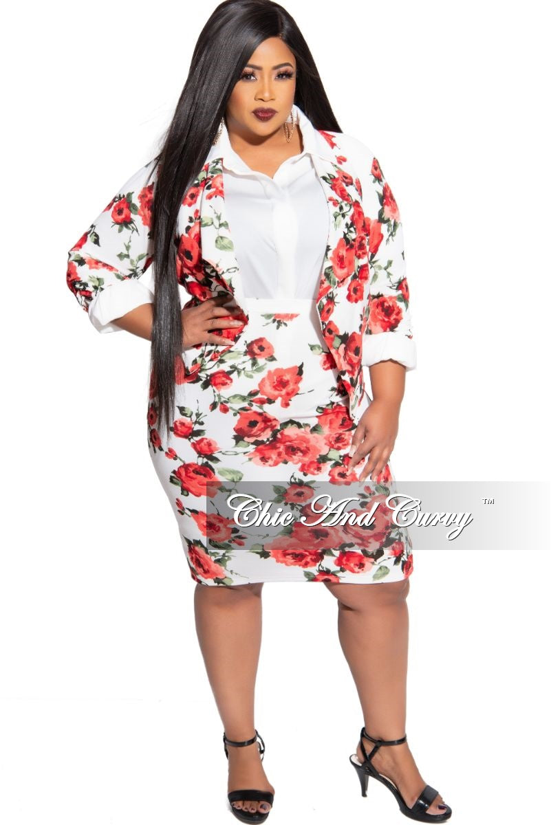 New Plus Size 2-Piece Blazer and Pencil Skirt Set in White Floral Print