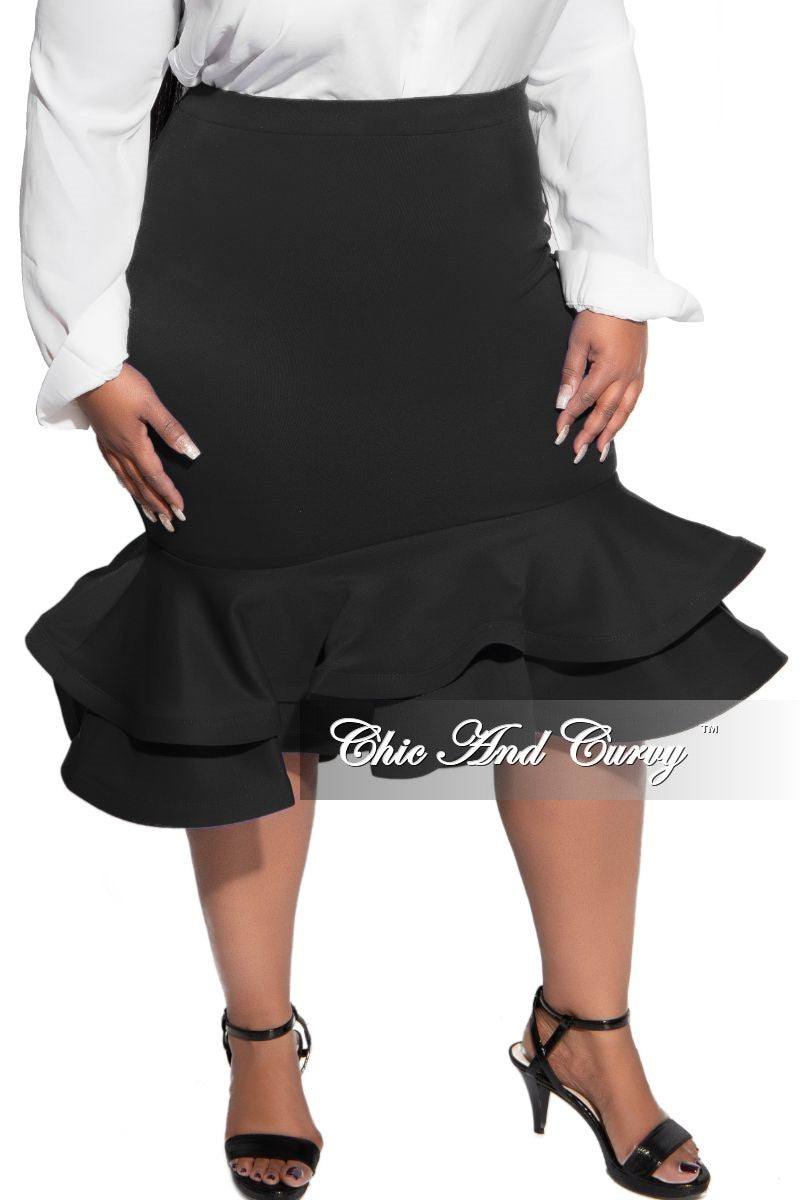 Final Sale Plus Size High Waist Ruffle Bottom Midi Skirt in Black