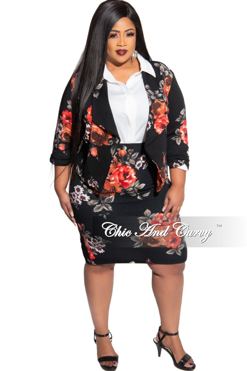 New Size 2-Piece Blazer and Pencil Skirt Set in Black Floral Print