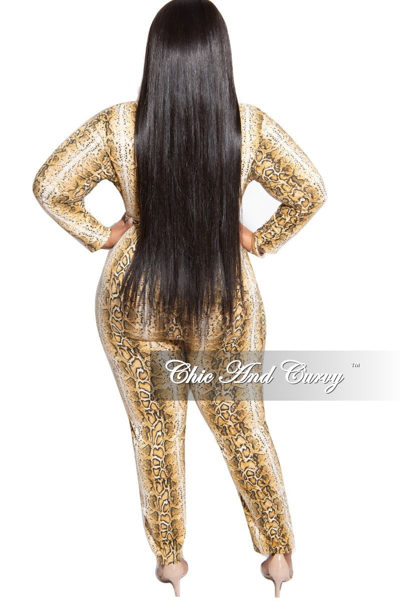 Final Sale Plus Size Tie Jumpsuit in Brown Snake Skin Print
