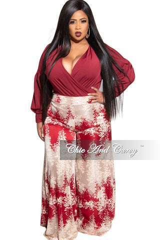 Final Sale Plus Size Pants with High-Waist and Wide Legs in Rust