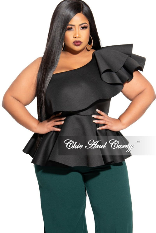 New Plus Size Peplum Top with Ruffle Shoulder in Black Scuba
