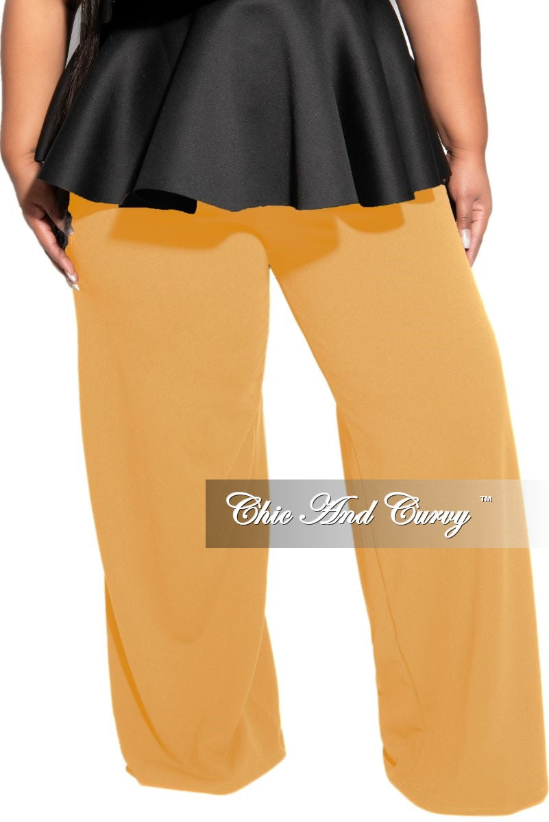 Final Sale Plus Size Pants with High-Waist and Wide Legs in Camel