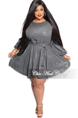 Final Sale Plus Size Long Sleeve Faux Sequin Hologram Mini Flare Dress with Tie in Silver
