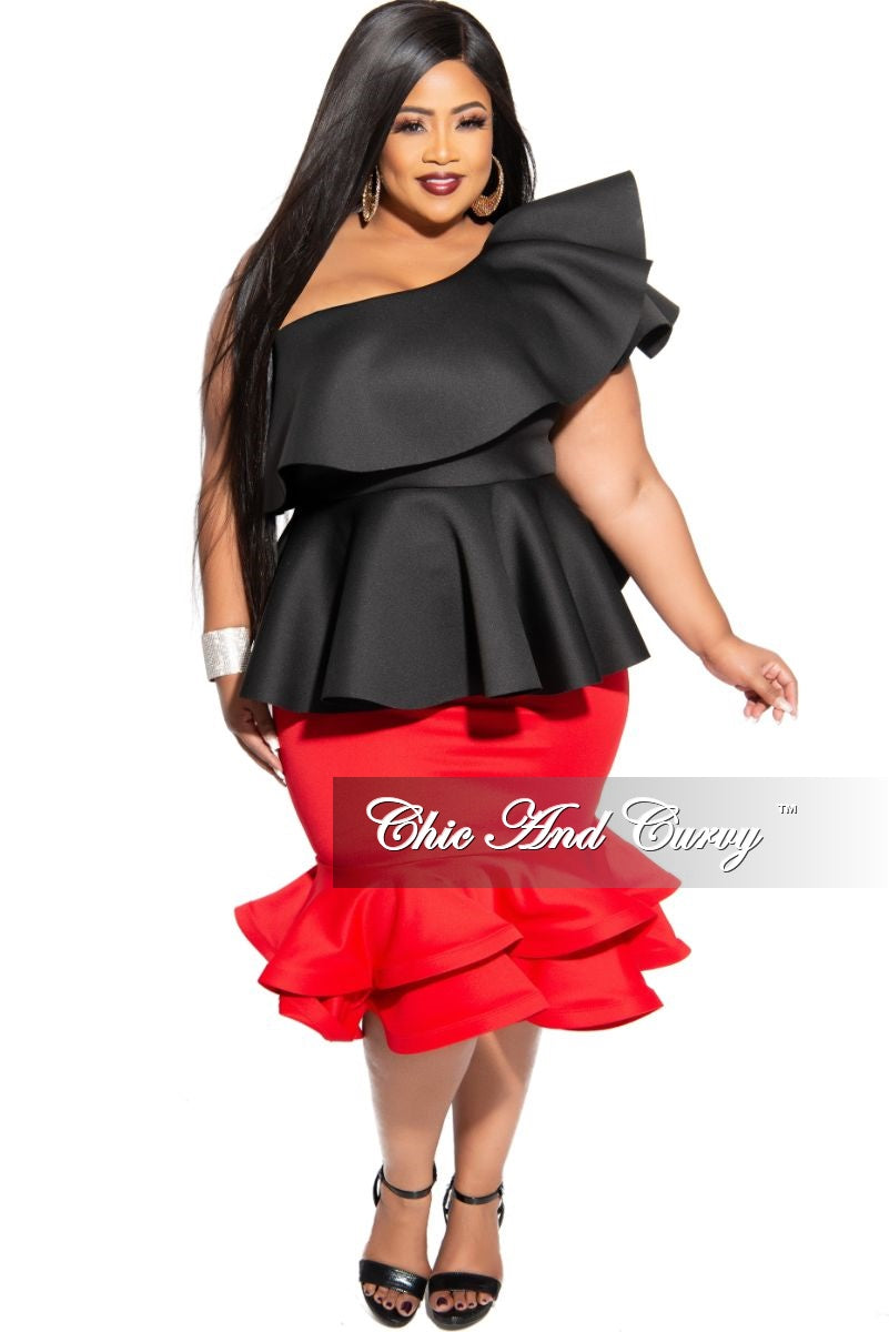 New Plus Size Midi Skirt with Ruffle Bottom in Red