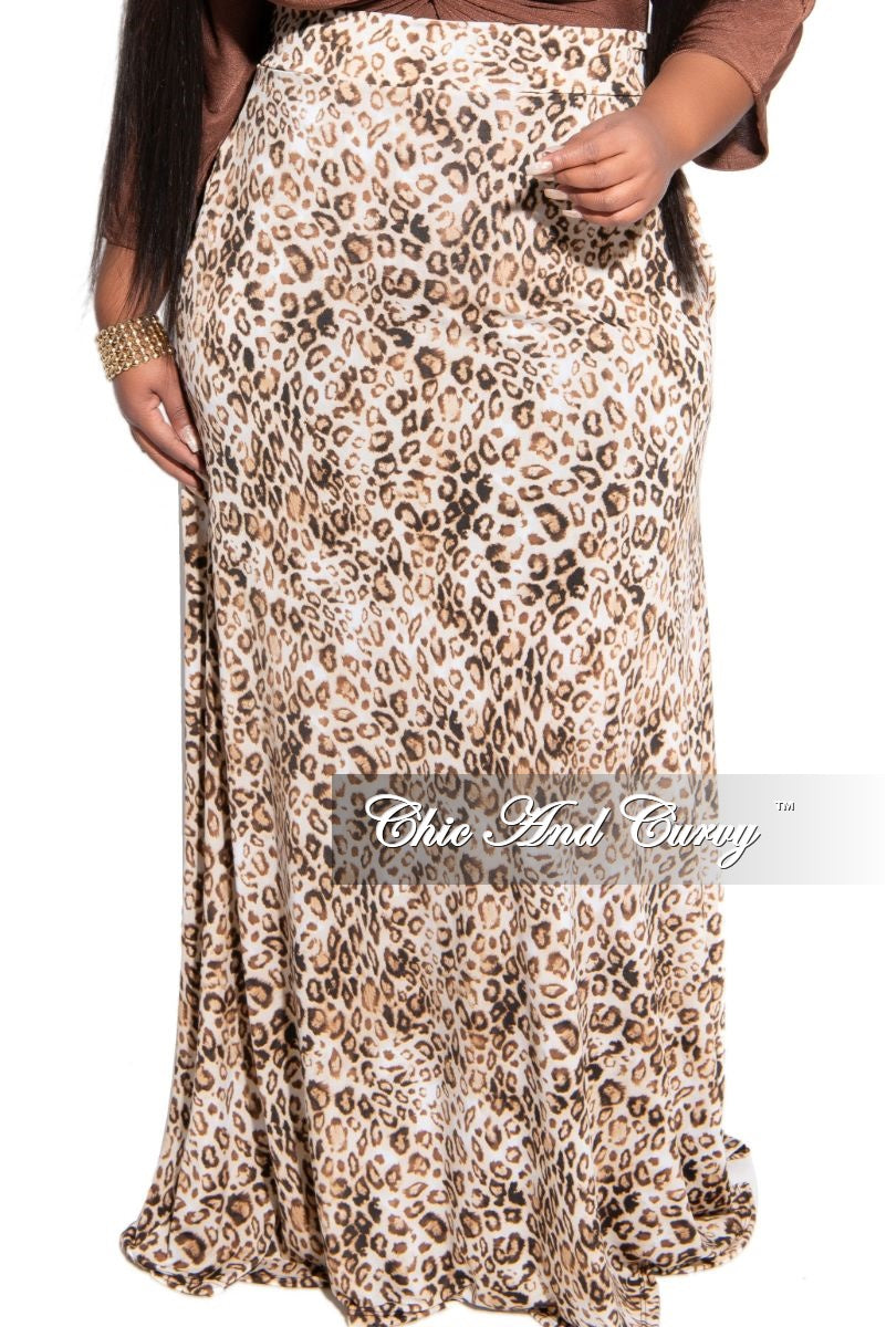 New Plus Size Maxi Skirt in Black and Brown Animal Print