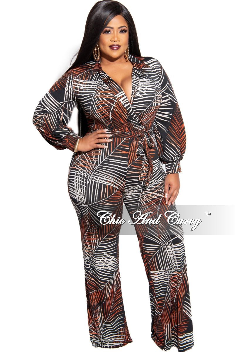 Final Sale Plus Size Collared Faux Wrap Jumpsuit in Black Burnt Orange and White Tropical Leaf Print