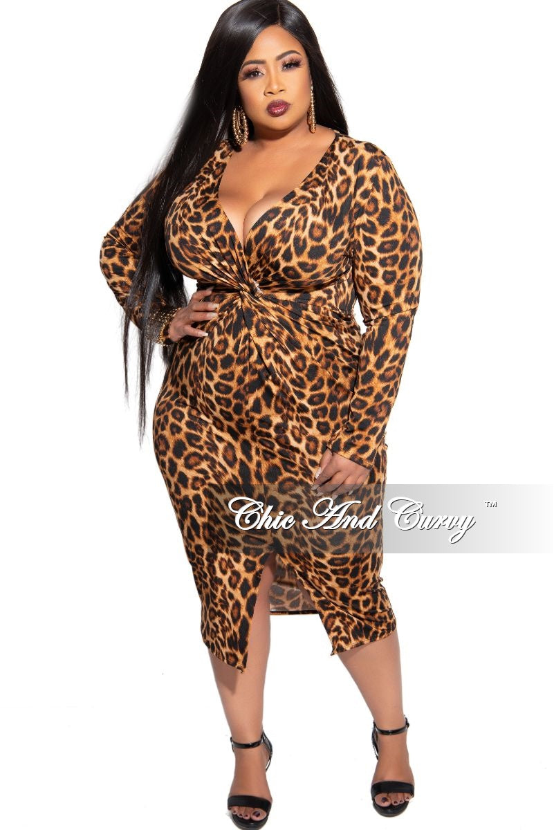New Plus Size Long Sleeve Deep V Front Twist BodyCon Dress with Back Bottom Slit in Animal Print