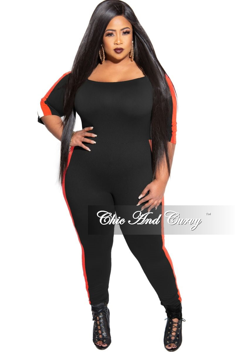 New Plus Size Off the Shoulder Jumpsuit in Black with Red and White Trim