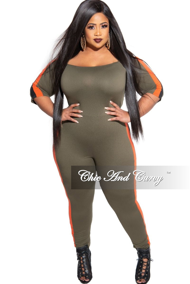 New Plus Size Off the Shoulder Jumpsuit in Olive with Burnt Orange and Black Trim