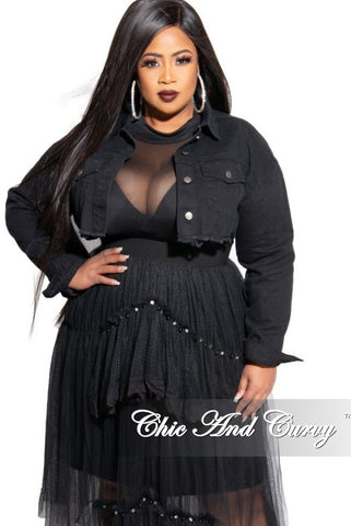 Final Sale Plus Size Fishnet Duster in Black
