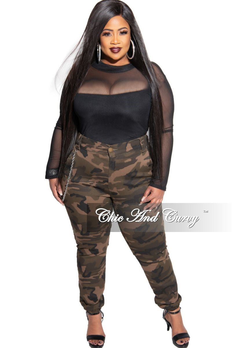New Plus Size Jogger Pants in Camouflage Print