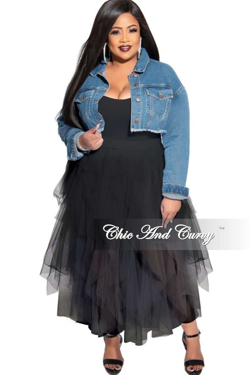 Final Sale Plus Size Ruffled Mesh Midi Skirt in Black