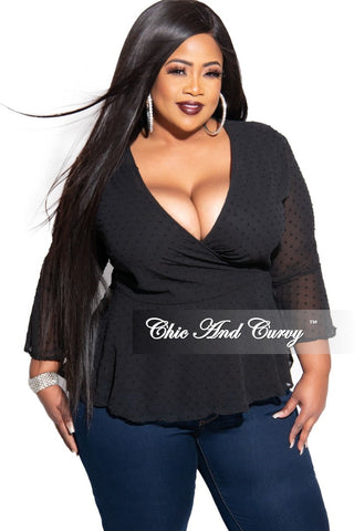 Final Sale Plus Size Sweater with Slits in Sleeves in Black